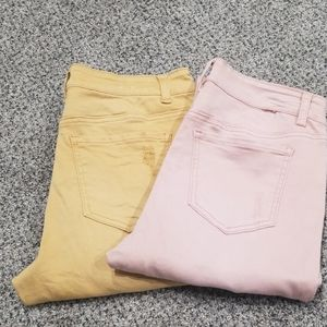 Vanilla Star - Pink and Gold Distressed Jeans